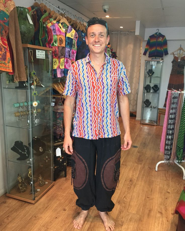 Nathan looks cool in this very popular and comfortable pants, made in Nepal  #NepaleseClothing #HippieClothing #Pashmina #Felts