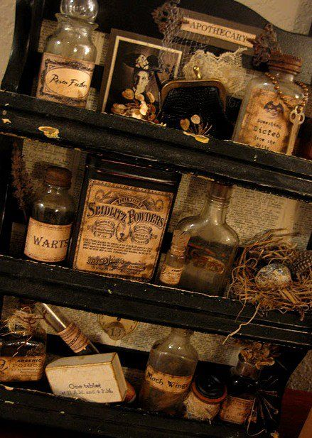 Victorian apothercary i need my medicine cabinet to look like this..i can say'I'll just check the apothercary....'