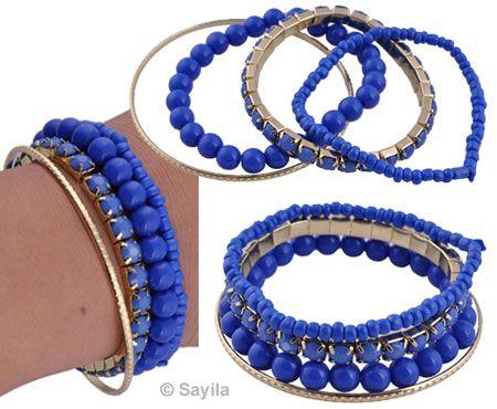 www.sayila.nl - Armbanden set van metaal, glas en kunststof ± 22mm dik (binnenmaat ± 18cm, rekbaar en ± 22cm)