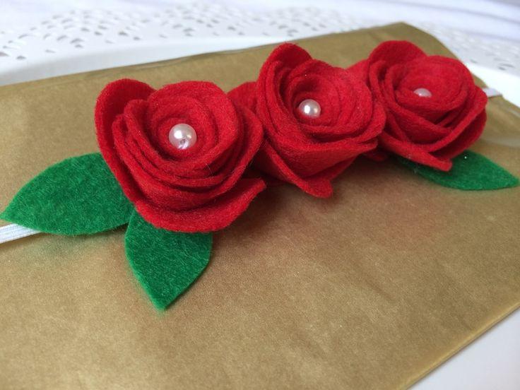 banda roja para pelo para la boda para esposa de Loiseaubleu por DaWanda.com