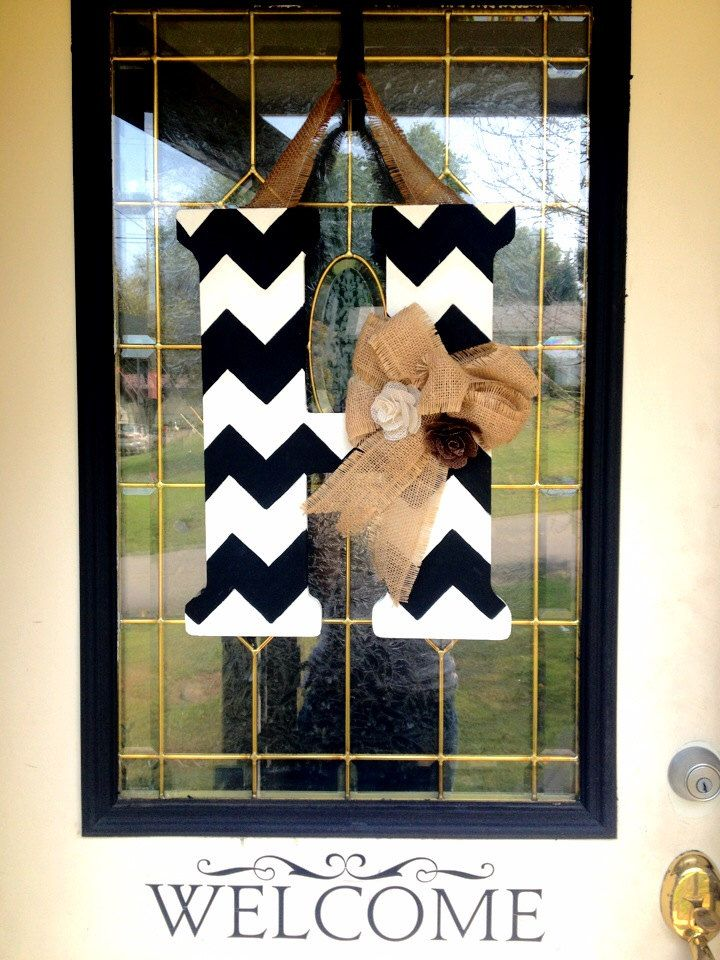 Chevron Monogram Door Hanger with Burlap Bow and Flowers by CraftyCoutureCandace on Etsy https://www.etsy.com/listing/164227744/chevron-monogram-door-hanger-with-burlap
