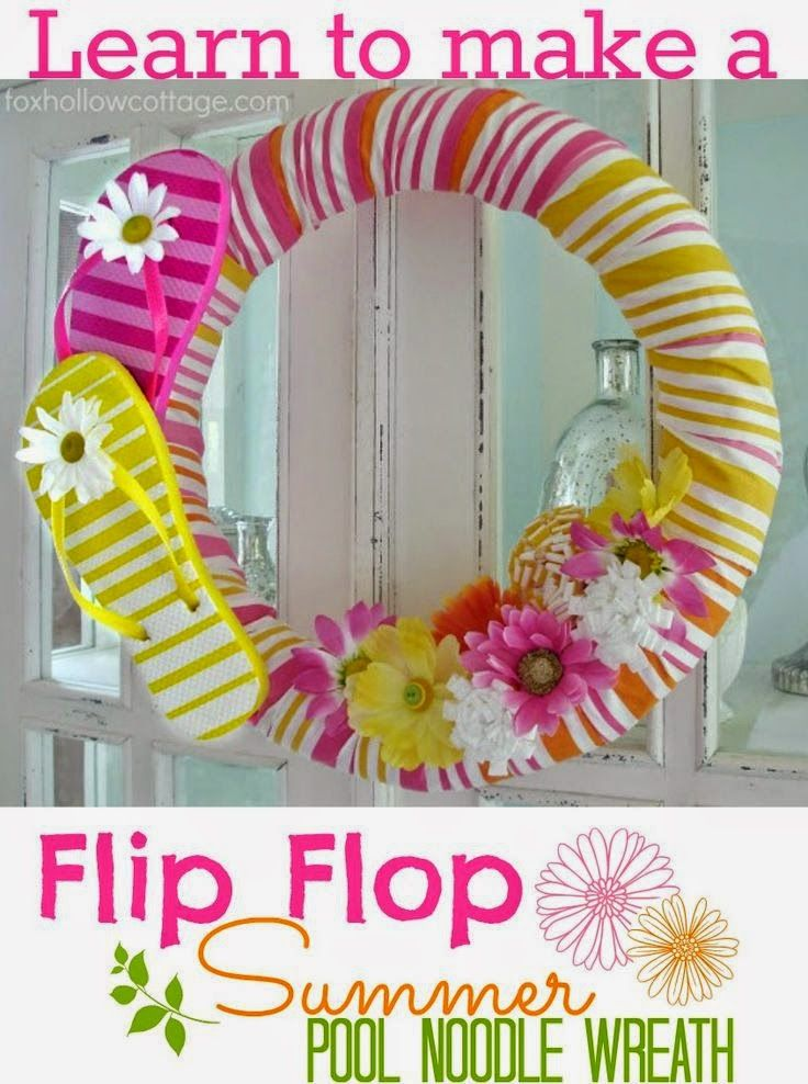 Best DIY Projects: Flip Flop Pool Noodle Wreath Tutorial: A Cheap & Easy Dollar Tree Craft!