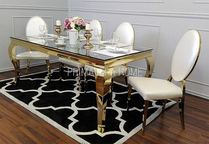 Zestaw: stół do jadalni stal szklany nowoczesny GLAMOUR GOLD + 8 krzeseł białe MEDALION GOLD