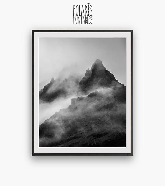 Black and white mountain peak photography modern minimalist digital download minimal wall decor