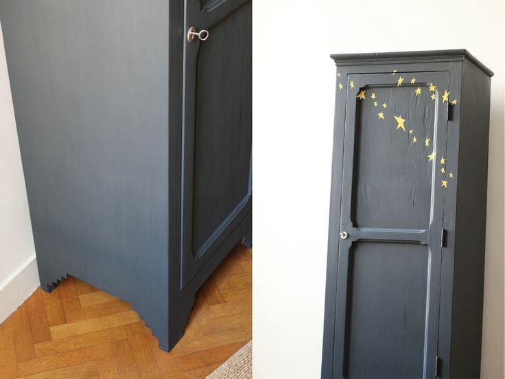 Petite armoire penderie parisienne vintage railings jaune TRENDY LITTLE 3