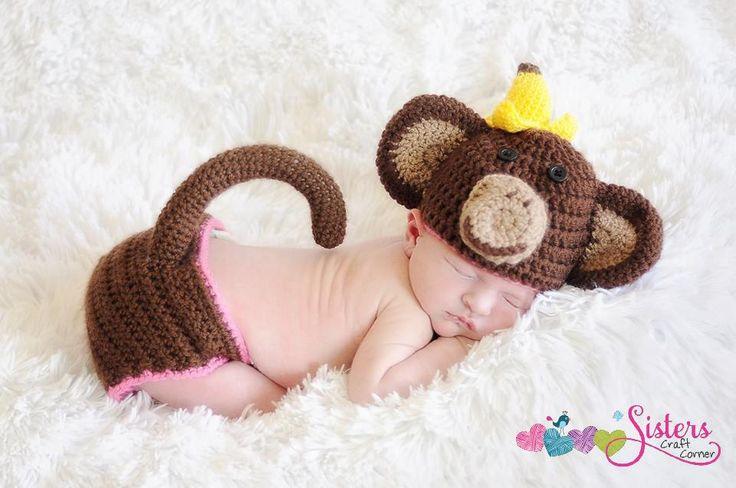 Crochet Monkey Hat - Messy Monkey Hat - Newborn Photo Prop - Baby Monkey Hat - Banana - Newborn Monkey Hat - Animal Hat - Baby Animal Hat