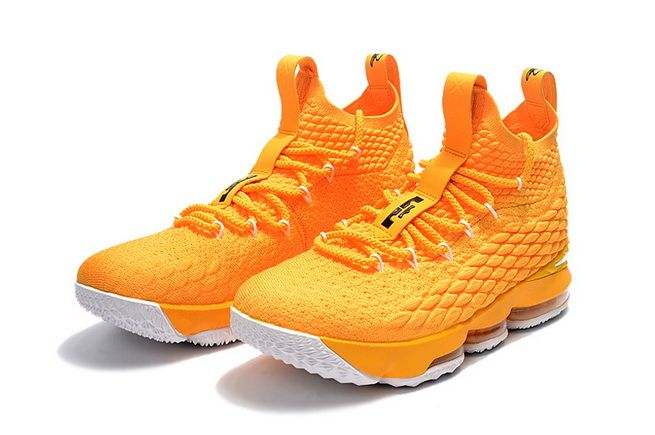 f0fe928c781c Genuine Nike LeBron 15 Mens Basketball Shoes Sneakers Rattan Yellow Black  White On Line