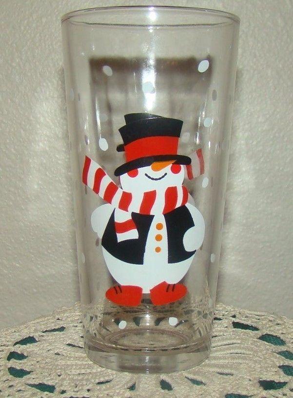 KIG Indonesia Holiday Christmas SNOWMAN Glass Tumbler