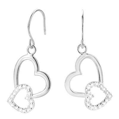 Zilveren oorbellen hangers harten met zirkonia (1017055)