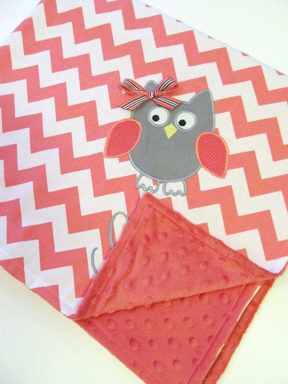 Personalized Baby Blanket 30x35- Pink Minky Blanket-  Pink Chevron Blanket- Applique Baby Blanket- Custom Blanket- Design Your Own Blanket