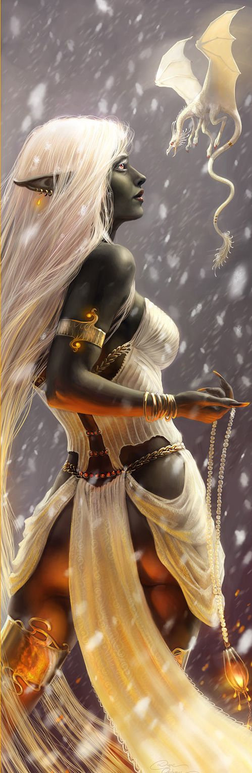 Female Drow--Lakkenaa and Snowball by Diane Ozdamar--#fantasy #art #imagination