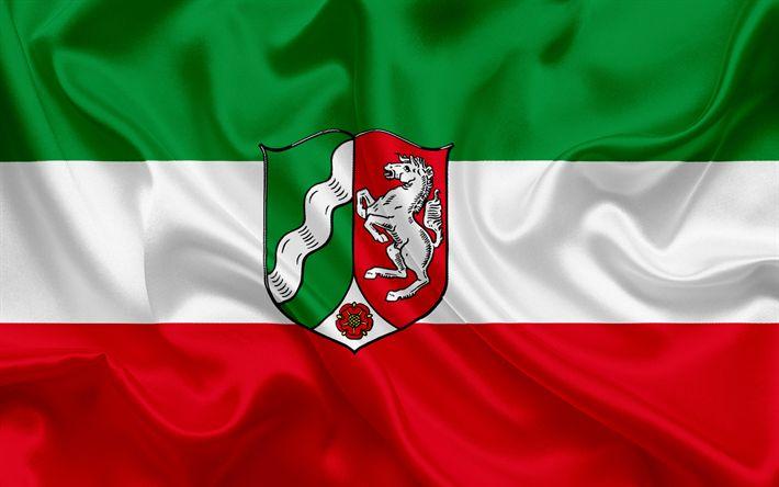 Herunterladen hintergrundbild flagge von nordrhein-westfalen, land deutschland, flaggen der deutschen länder, nordrhein-westfalen, bundesländer, seide, fahne, bundesrepublik deutschland