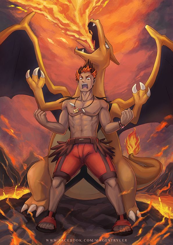 Kiawe and Ride Charizard by stryler.deviantart.com on @DeviantArt