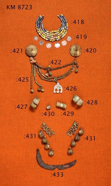 Viking age / Finnish.  This looks like pictures of the jewelry found in the Eura find, c. 1000 CE.