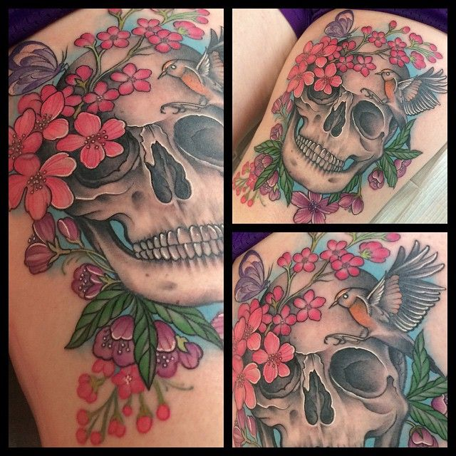 Floral skull thigh tattoo by Laura Jade, Silver Quill Tattoo, Portland, Oregon.