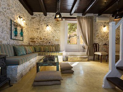 Rethymno villa rental - Comfortable living room with rustic touches!