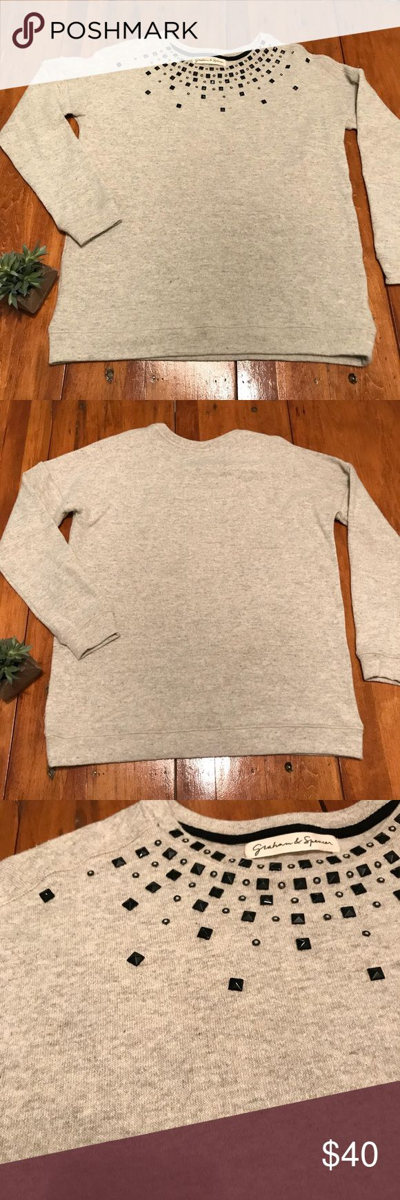 """Graham & Spencer Bead Embellished Sweatshirt Comfort and style meet in this sweatshirt by Graham & Spencer.   Approximate measurements: bust 23.4"""", length 26.5"""", sleeve length 18"""" Condition: EUC with no rips or stains Fabric: 44% acrylic, 36% wool, 18% silk, 2% spandex RN 109220, CA 42241 Graham & Spencer Tops Sweatshirts & Hoodies"""