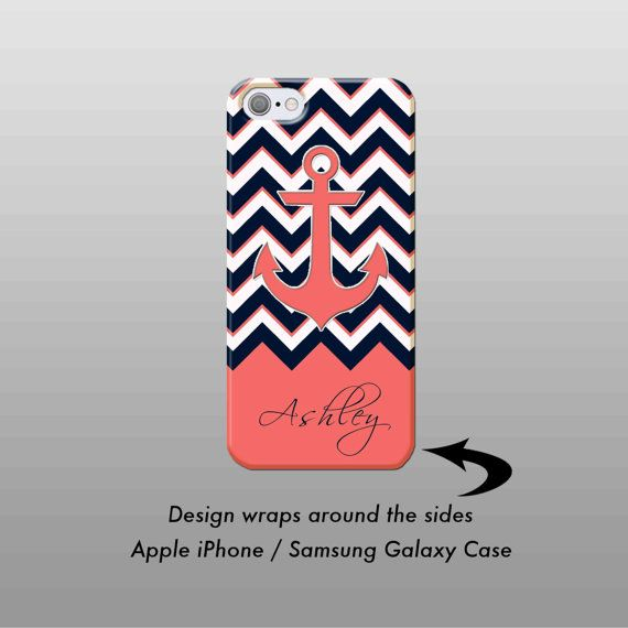 Navy Coral Chevron iPhone Case  iPhone 7 Case Personalized