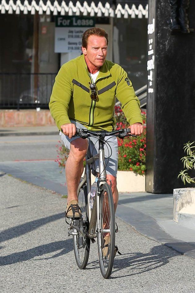 Arnold Schwarzenegger rides...