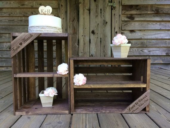 This beautiful personalized wooden crate display will be the perfect addition to your special day. Use the display for cupcakes, favors and more
