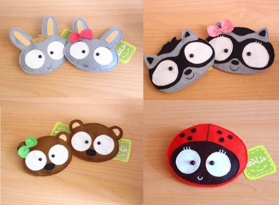 Bunny, Raccoon, Lady bug and Bear faces - Something Spanish. Idk. But cute.  lovelia