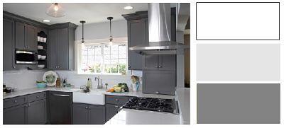 Minimal Design, Ψυχρά Χρωματα με Λευκό ταβάνι, Τοίχους σε απαλό Γκρι και 3 τόνους πιο σκούρο Γκρι τα έπιπλα κουζίνας.