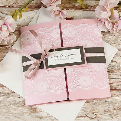 Lace Blush Pink Rustic Gatefold Wedding Invitation Personalised Handmade SAMPLE