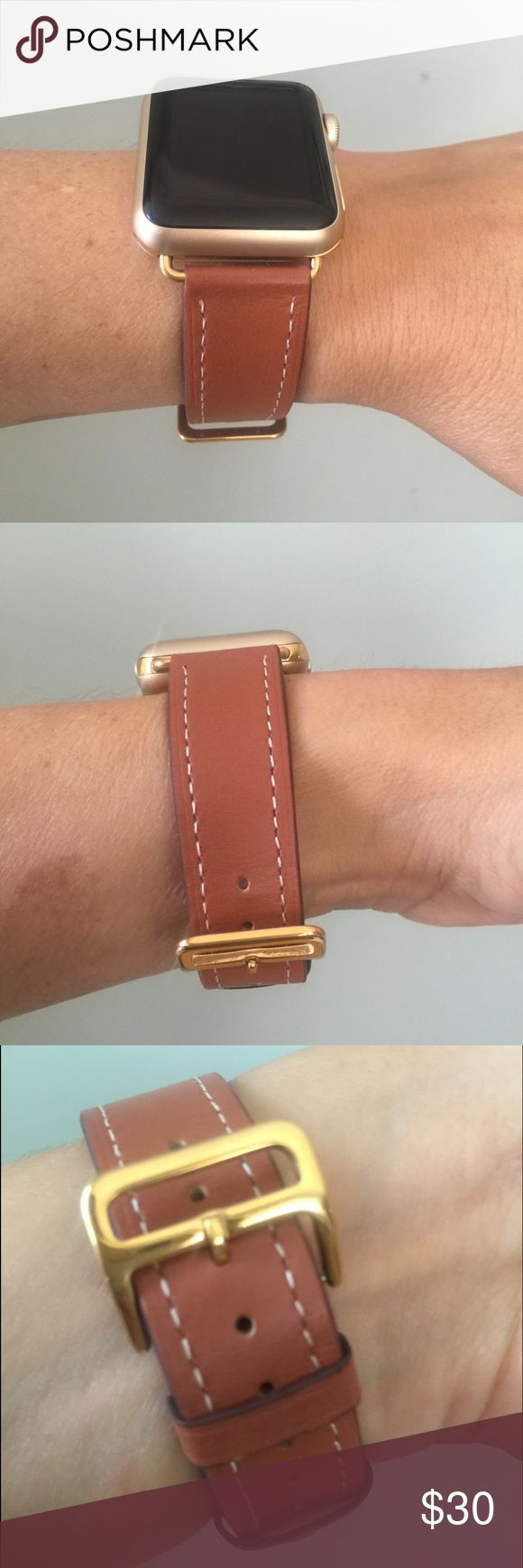GOLD hardware Apple Watch band, brown leather! ❤️ Brown Apple Watch band with gold hardware.   Single tour band, genuine high quality leather.  It comes in 38mm and 42mm. Please select your size when you purchase. The adapters also fit the Apple Watch Sport.   I also have other band colors, hardware colors and styles in my closet. Check them out!   I offer 15% off if you buy two or more! only the band is for sale; it does not include the watch. Other