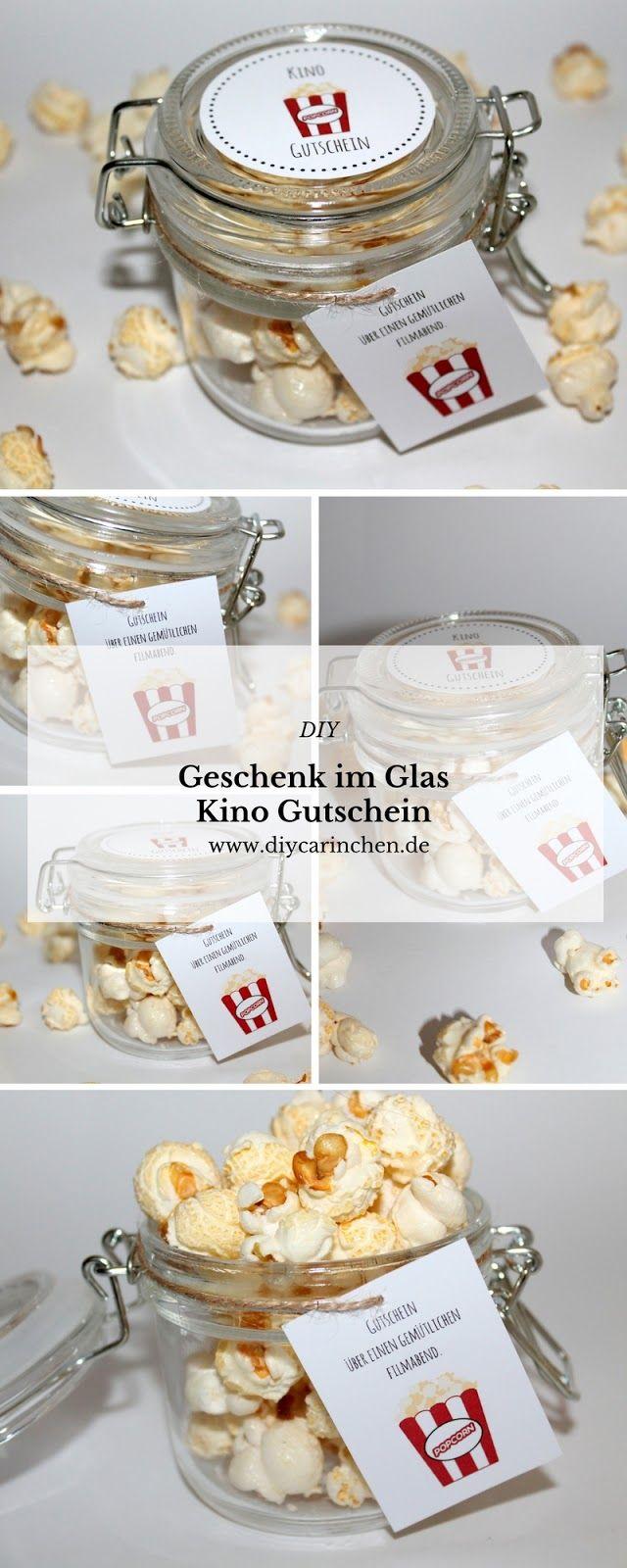 Cadeaux de bricolage du verre Popcorn Coupon Cinema + Free Printable + Instructions: …   – Alle DIYs von DIYCarinchen