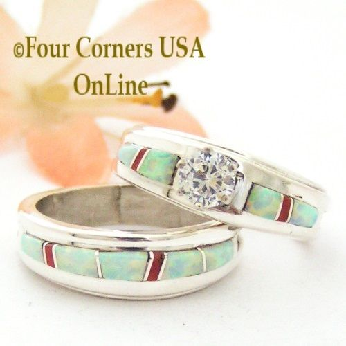 Size 7 1 2 White Fire Opal And Coral Engagement Bridal Wedding Ring Set Navajo Wilbert Muskett Jr WS 1632 Closeout Final Native American
