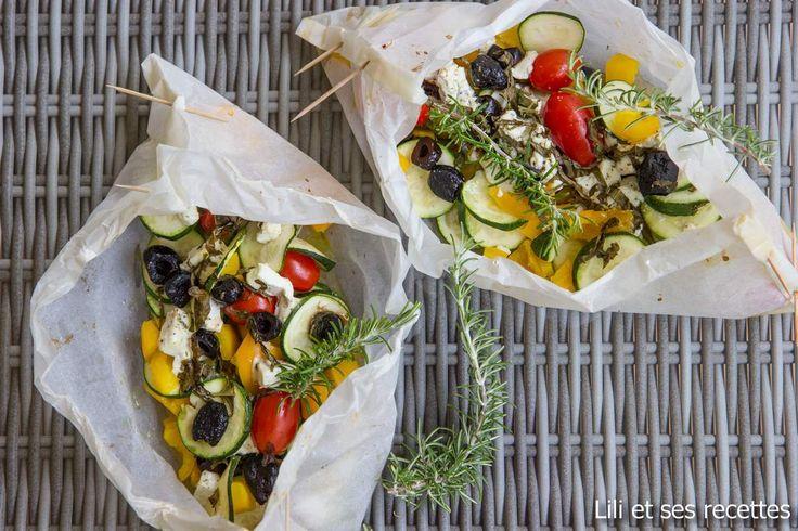Papillotes aux légumes du soleil à la feta  Toutes les saveurs sans trop de gras…