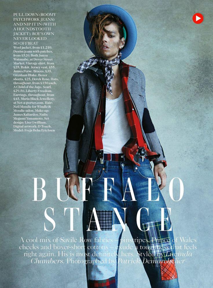 Freja Beha Erichsen in masculine look at Vogue UK August 2013 #fashion #editorial