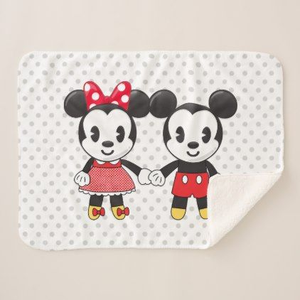Mickey & Minnie Holding Hands Emoji Sherpa Blanket - kids kid child gift idea diy personalize design