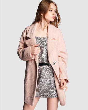 Abrigo de mujer Green Coast rosa con solapa