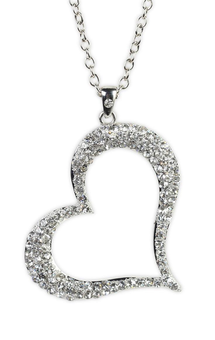 Deb Shops open stone sideways #heart #necklace