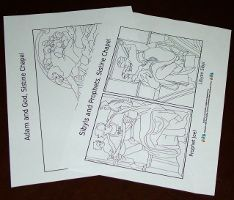 Sistine chapel coloring pages for kids. Michelangelo.