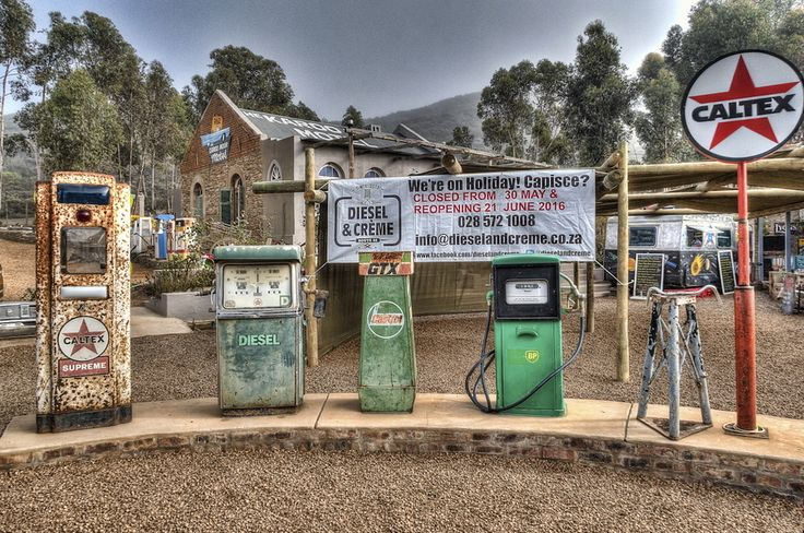 Perfect Posing 'Petrol' Pumps Display of old gas pumps in the side yard of Diesel & Crème in Barrydale, on the edge of the Little Karoo