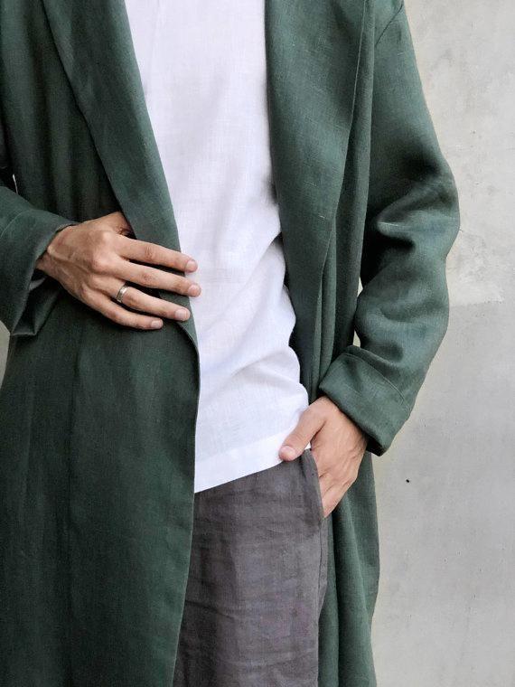 Linen Robe Green Dressing Gown For Men Handmade Bathrobe Linen