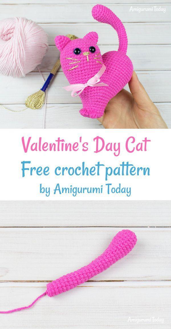 Valentine S Day Cat Crochet Pattern Crochet Patterns Valentines