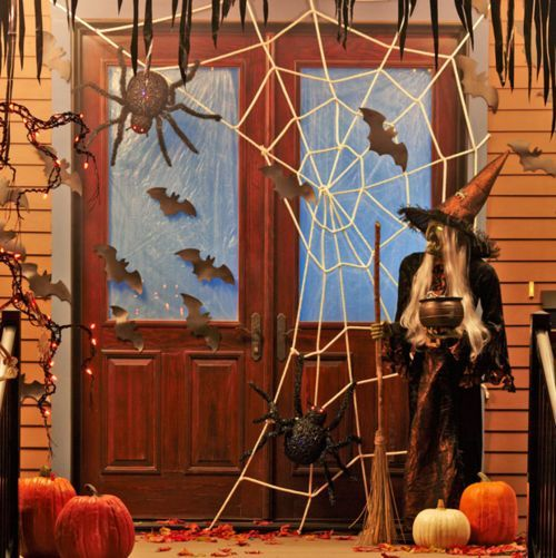 halloween witches decorations halloween decorations witch bats spider front door. Black Bedroom Furniture Sets. Home Design Ideas
