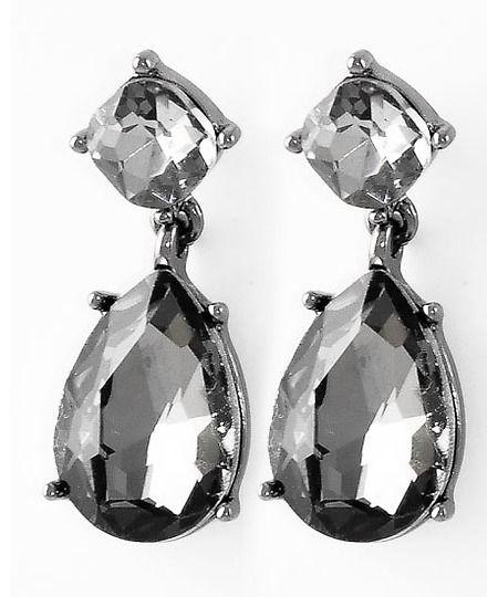 433997 Hematite Tone / Black Diamond Glass / Lead&nickel Compliant / Tear Drop Dangle / Post Earring Set