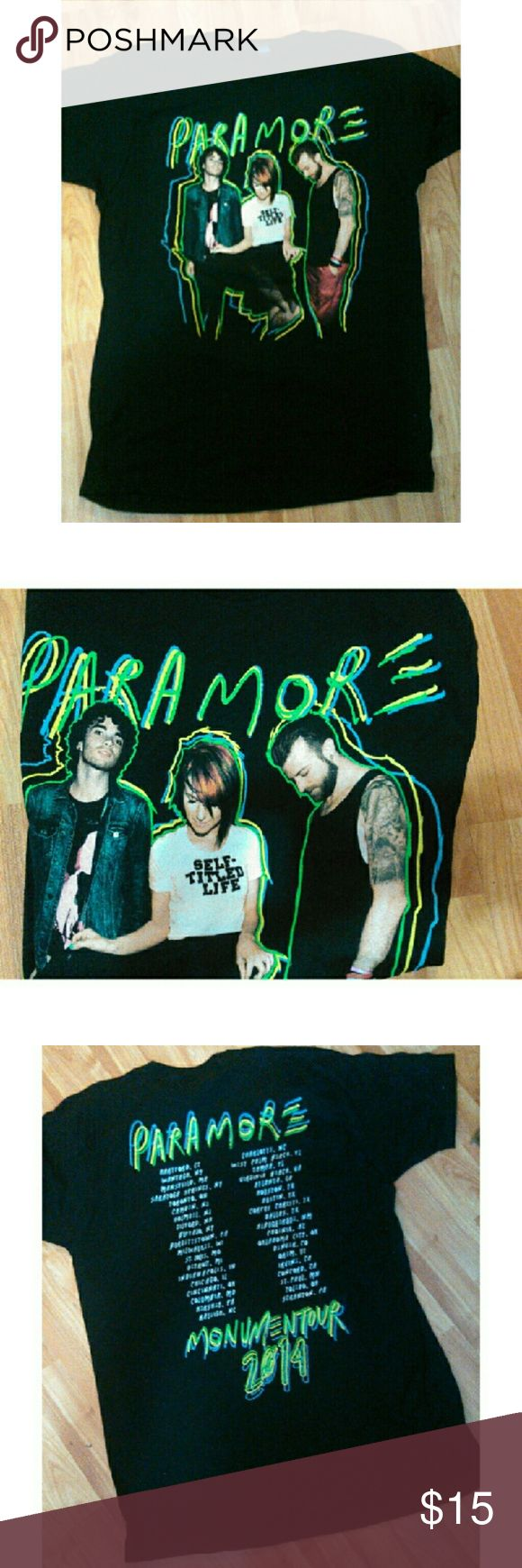 Paramore T-shirt Black Paramore shirt sleeve T-shirt Has band in front and 2014 tour dates on the back 100% Cotton Brand new  Preshrunk   *I sell on Mer as well -Veronica R - Tops Tees - Short Sleeve