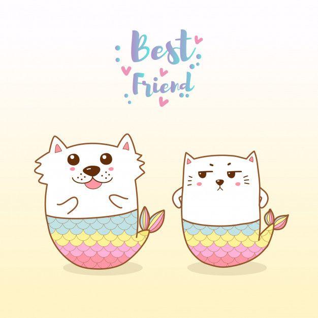 Cute Cat And Dog Mermaid Cartoon Hand Drawn In 2020 Cute Cats