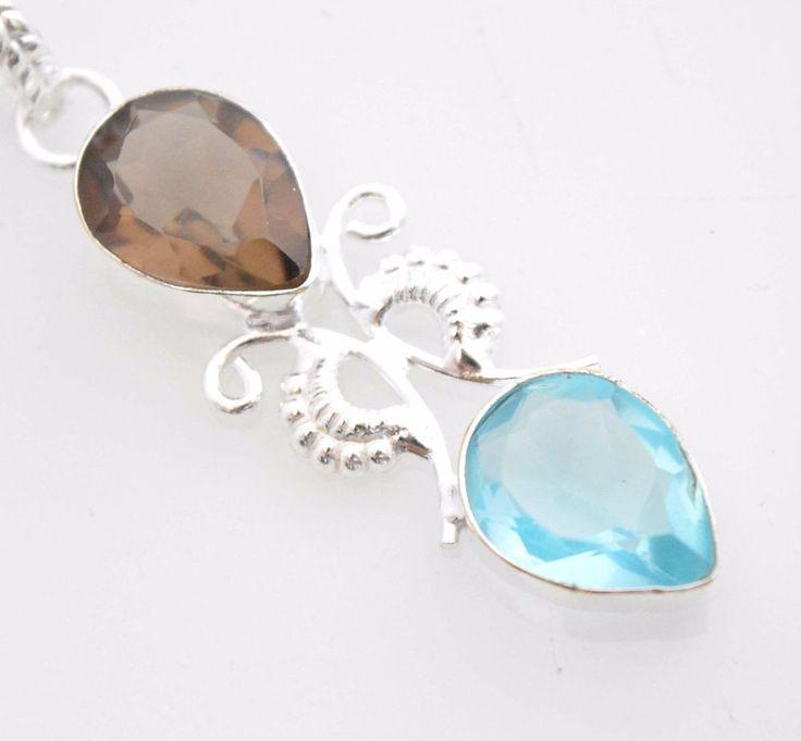 Stunning Smoky Quartz-Blue Topaz 925 Silver Plated Pendant Xmas Gift For Her R12 #valueforbucks #Pendant