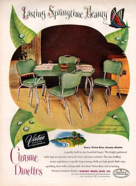 1950 Virtue Chrome Dinette print ad kitchen table in by Vividiom, $8.00