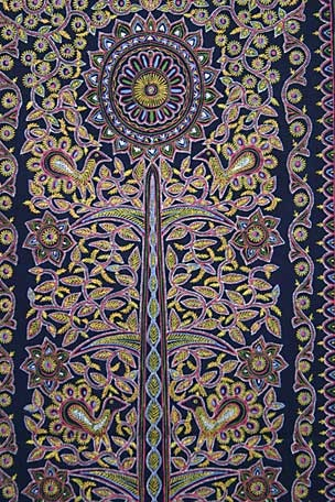 Tree of LIfe detail from a panel by Abdulgafoor Daud, Rogan painter. This technique of painting on cloth with natural pigments mixed with castor oil and gums dates back to the Persian Empire.