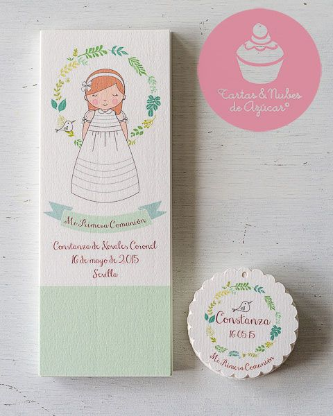 Recordatorios Primera Comunión personalizados para niñas
