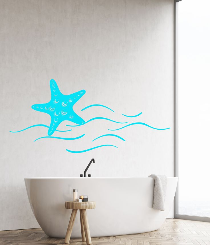 Vinyl Wall Decal Starfish Sea Ocean Beach Style Wave Stickers (1325ig)