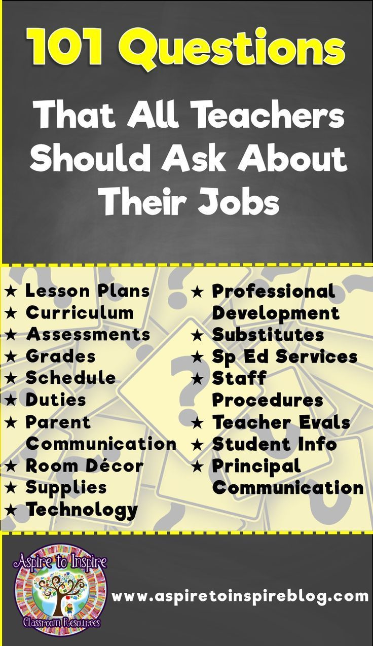 Whether you are a new teacher interviewing for a job or a veteran teacher changing teaching positions, be sure you know the answers to these questions about the policies and procedures pertaining to your job!