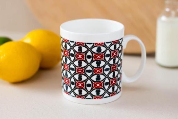 Hand printed mug art deco pattern teal blue mug by DoodlePippin